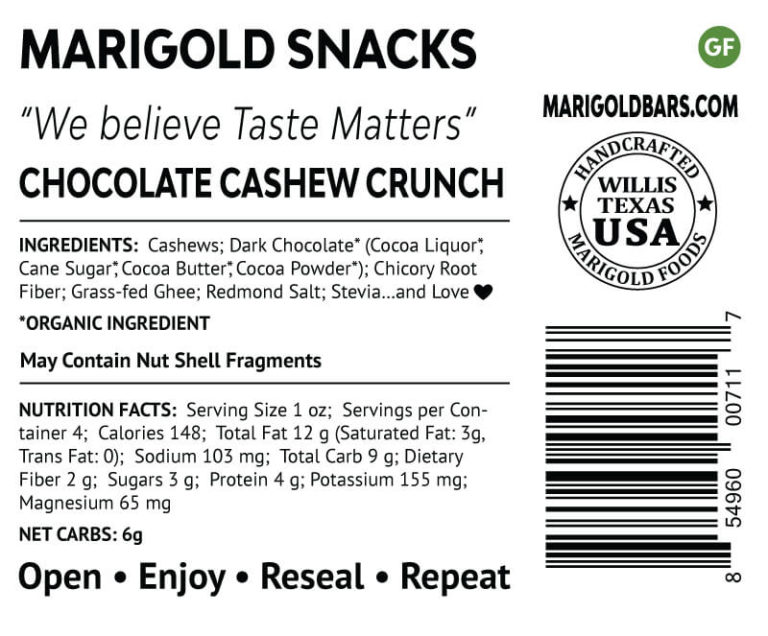 Chocolate Cashew Crunch Snack Nuts MariGold Back Label