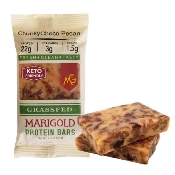 ChunkyChoco Pecan MariGold Bars Keto Friendly Truly Grass Fed Protein Bars