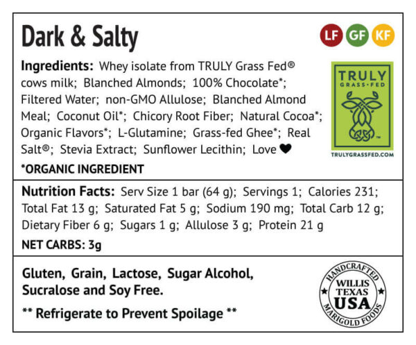 Dark & Salty Protein Bar Truly Grass-fed Back Label - MariGold Bars