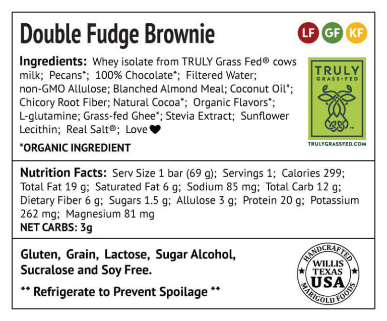 Double Fudge Brownie Protein Bar Truly Grass-fed Back Label - MariGold Bars