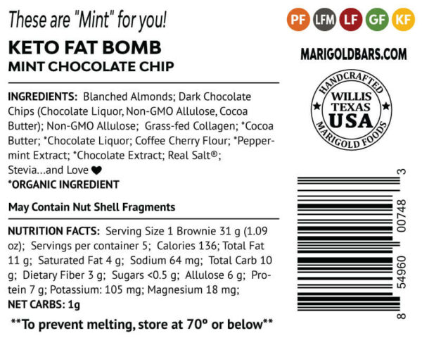 Mint Chocolate Chip Fat Bombs MariGold Bars back-label