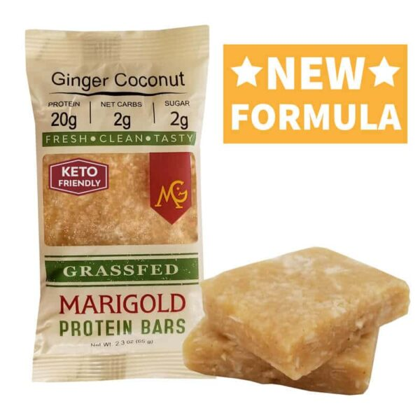 Ginger Coconut MariGold Bars Keto Friendly Truly Grass Fed Protein Bars New Formula