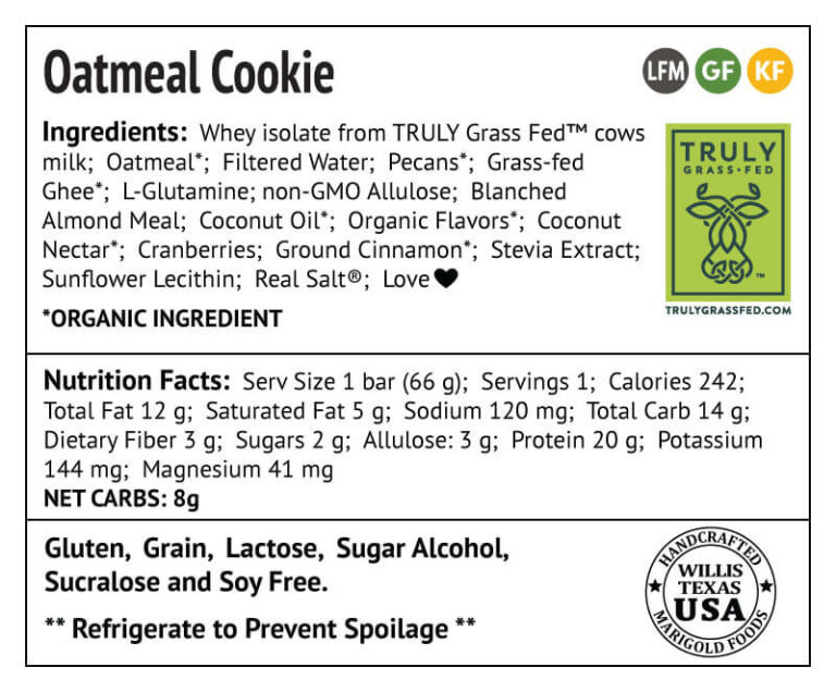 Oatmeal Cookie Back Label MariGold Protein Bars