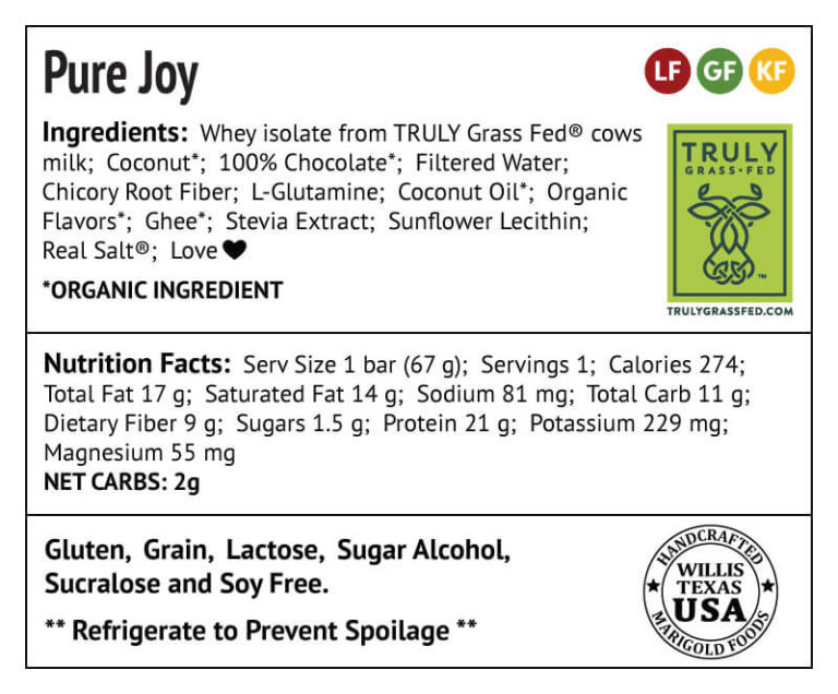Pure Joy Protein Bar Truly Grass-fed Back Label - MariGold Bars