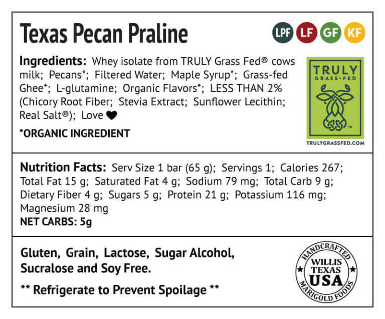 Texas Pecan Praline Protein Bar Truly Grass-fed Back Label - MariGold Bars